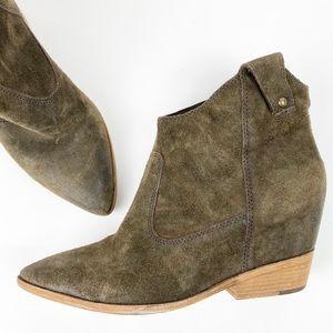 Olive Brown Suede Hidden Wedge Ankle Bootie Y241